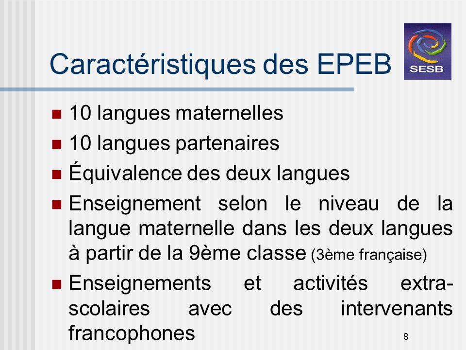 8 Caractéristiques des EPEB 10 langues maternelles 10 langues partenaires Équivalence des deux langues Enseignement selon le niveau de la langue mater