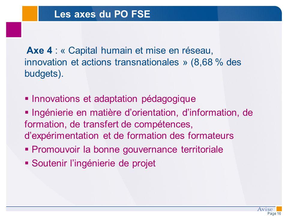 Page 16 Axe 4 : « Capital humain et mise en réseau, innovation et actions transnationales » (8,68 % des budgets).