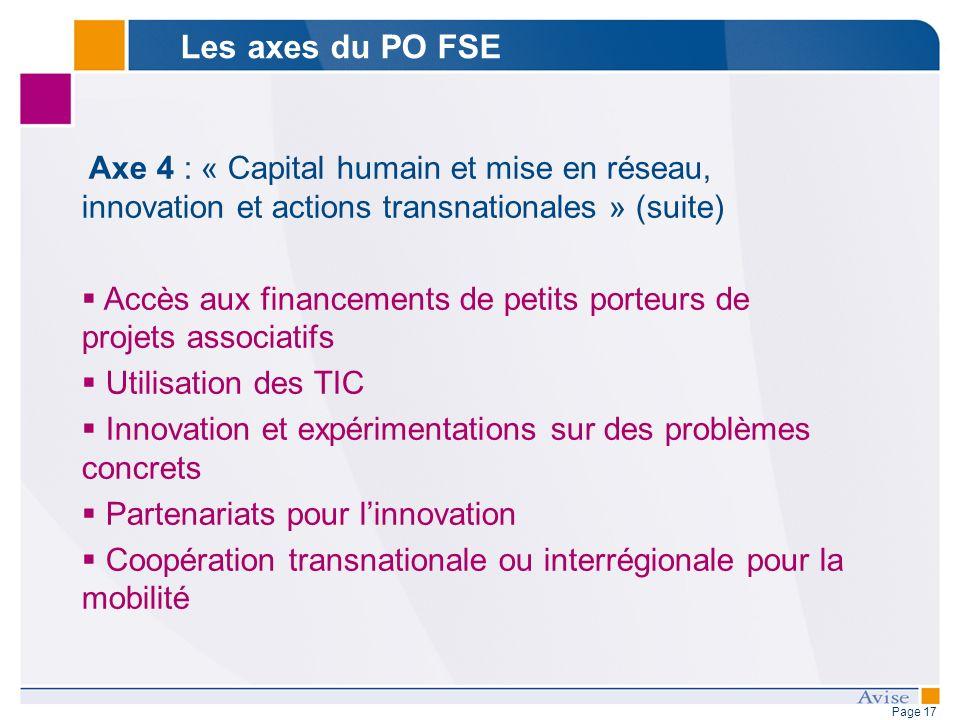 Page 17 Axe 4 : « Capital humain et mise en réseau, innovation et actions transnationales » (suite) Accès aux financements de petits porteurs de proje