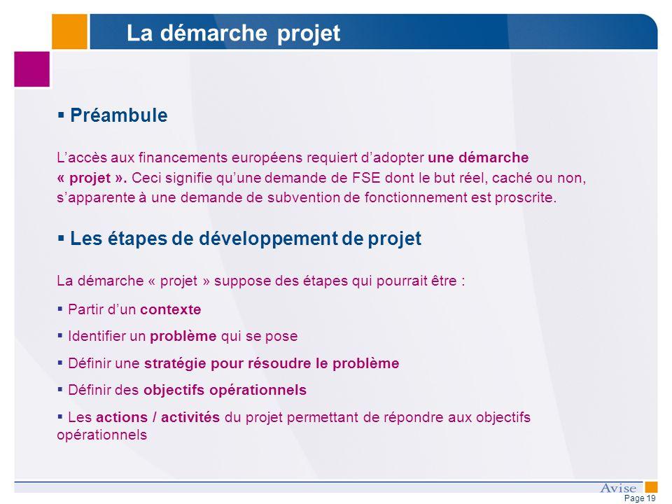 Page 19 Préambule Laccès aux financements européens requiert dadopter une démarche « projet ». Ceci signifie quune demande de FSE dont le but réel, ca
