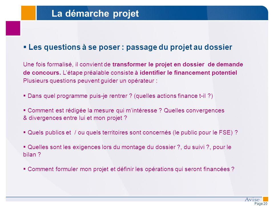 Page 20 Les questions à se poser : passage du projet au dossier Une fois formalisé, il convient de transformer le projet en dossier de demande de concours.