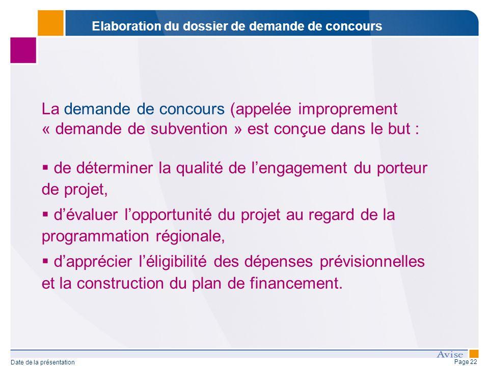 Page 22 Date de la présentation La demande de concours (appelée improprement « demande de subvention » est conçue dans le but : de déterminer la quali