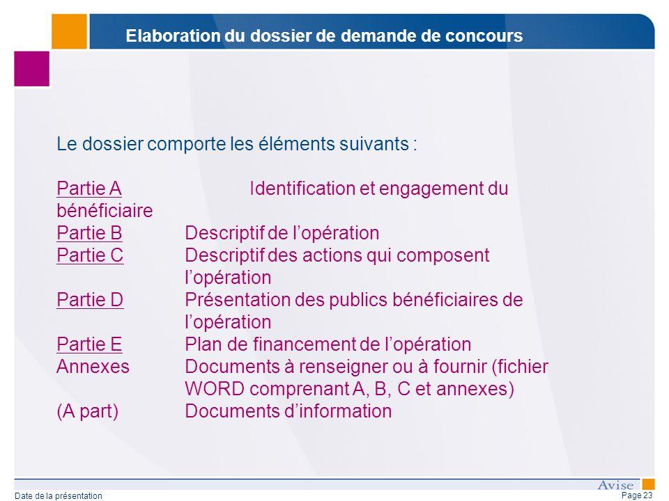 Page 23 Date de la présentation Le dossier comporte les éléments suivants : Partie AIdentification et engagement du bénéficiaire Partie BDescriptif de
