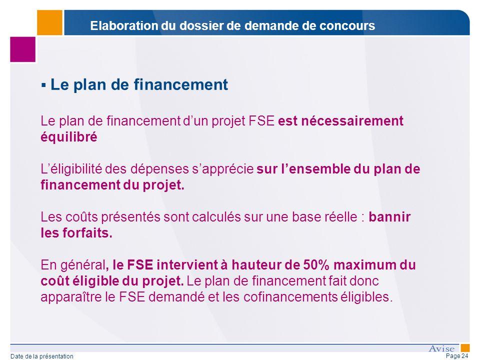 Page 24 Date de la présentation Le plan de financement Le plan de financement dun projet FSE est nécessairement équilibré Léligibilité des dépenses sapprécie sur lensemble du plan de financement du projet.