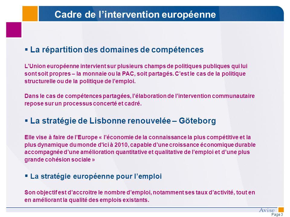 Page 3 La répartition des domaines de compétences LUnion européenne intervient sur plusieurs champs de politiques publiques qui lui sont soit propres