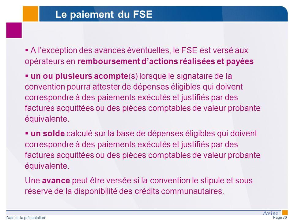 Page 30 Date de la présentation A lexception des avances éventuelles, le FSE est versé aux opérateurs en remboursement dactions réalisées et payées un