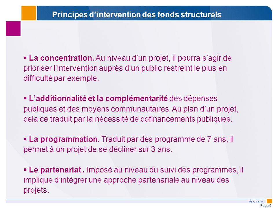 Page 6 La concentration. Au niveau dun projet, il pourra sagir de prioriser lintervention auprès dun public restreint le plus en difficulté par exempl