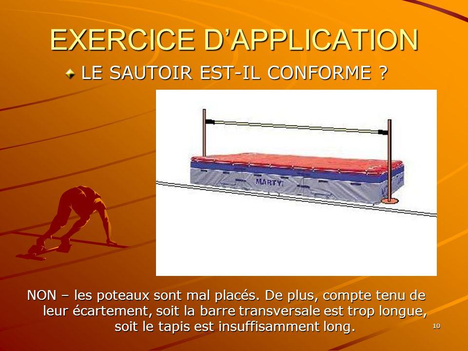 10 EXERCICE DAPPLICATION LE SAUTOIR EST-IL CONFORME ? NON – les poteaux sont mal placés. De plus, compte tenu de leur écartement, soit la barre transv