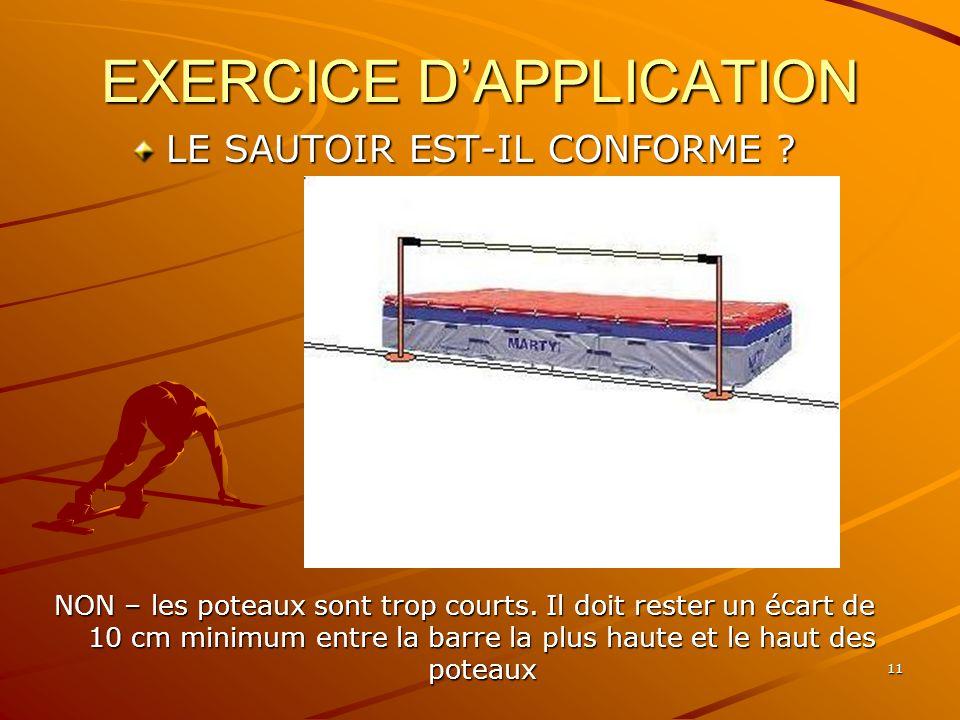 11 EXERCICE DAPPLICATION LE SAUTOIR EST-IL CONFORME ? NON – les poteaux sont trop courts. Il doit rester un écart de 10 cm minimum entre la barre la p