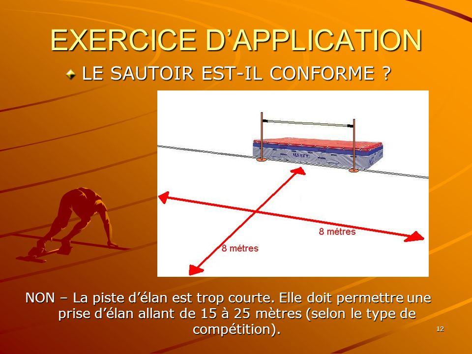 12 EXERCICE DAPPLICATION LE SAUTOIR EST-IL CONFORME ? NON – La piste délan est trop courte. Elle doit permettre une prise délan allant de 15 à 25 mètr