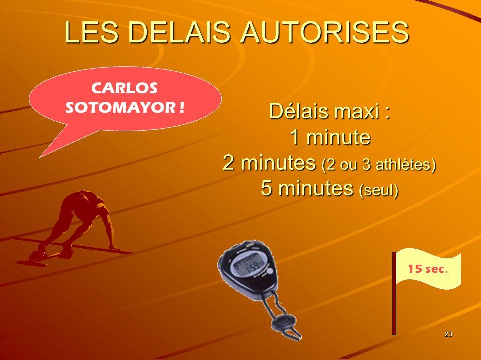 23 LES DELAIS AUTORISES Délais maxi : 1 minute 2 minutes (2 ou 3 athlètes) 5 minutes (seul) 15 sec. CARLOS SOTOMAYOR !