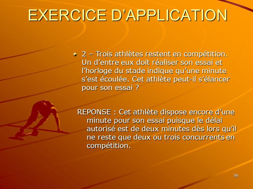 28 EXERCICE DAPPLICATION 2 – Trois athlètes restent en compétition. Un dentre eux doit réaliser son essai et lhorloge du stade indique quune minute se