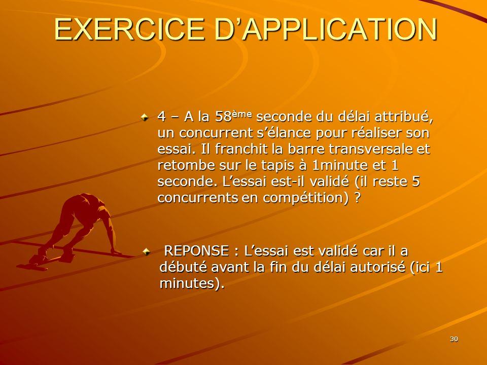 30 EXERCICE DAPPLICATION 4 – A la 58 ème seconde du délai attribué, un concurrent sélance pour réaliser son essai. Il franchit la barre transversale e