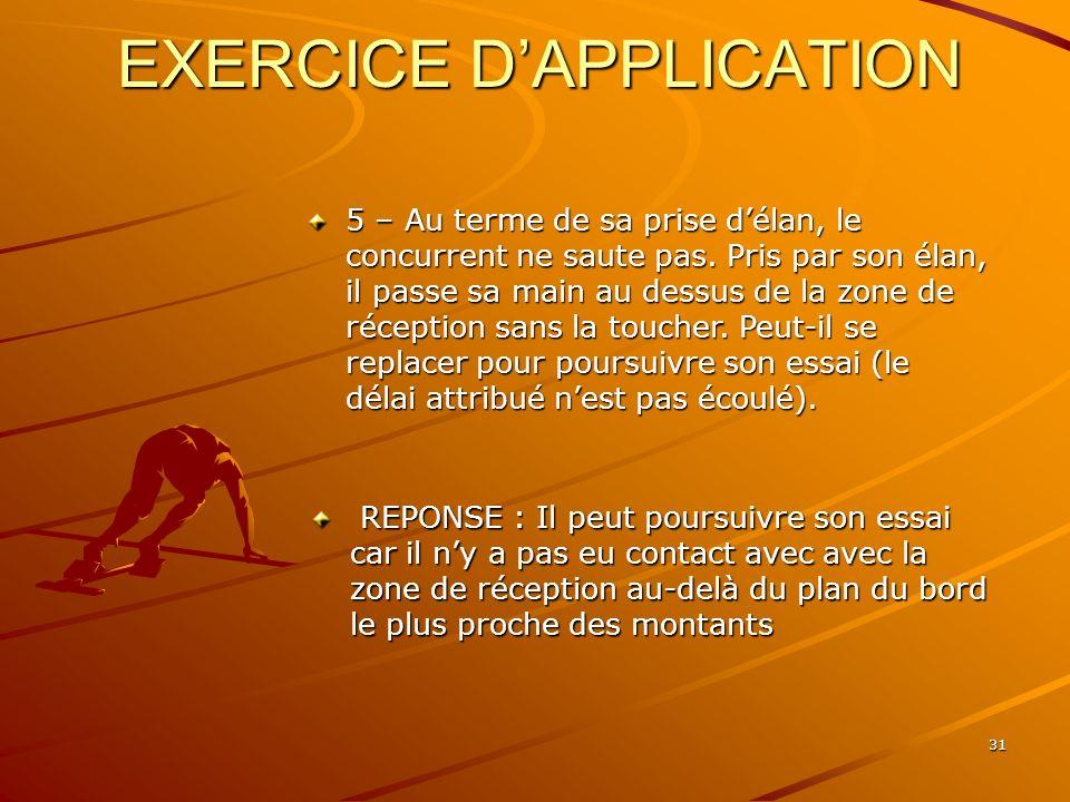 31 EXERCICE DAPPLICATION 5 – Au terme de sa prise délan, le concurrent ne saute pas. Pris par son élan, il passe sa main au dessus de la zone de récep