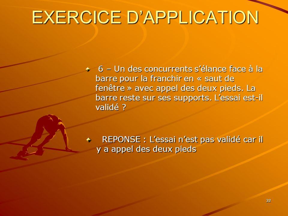 32 EXERCICE DAPPLICATION 6 – Un des concurrents sélance face à la barre pour la franchir en « saut de fenêtre » avec appel des deux pieds. La barre re