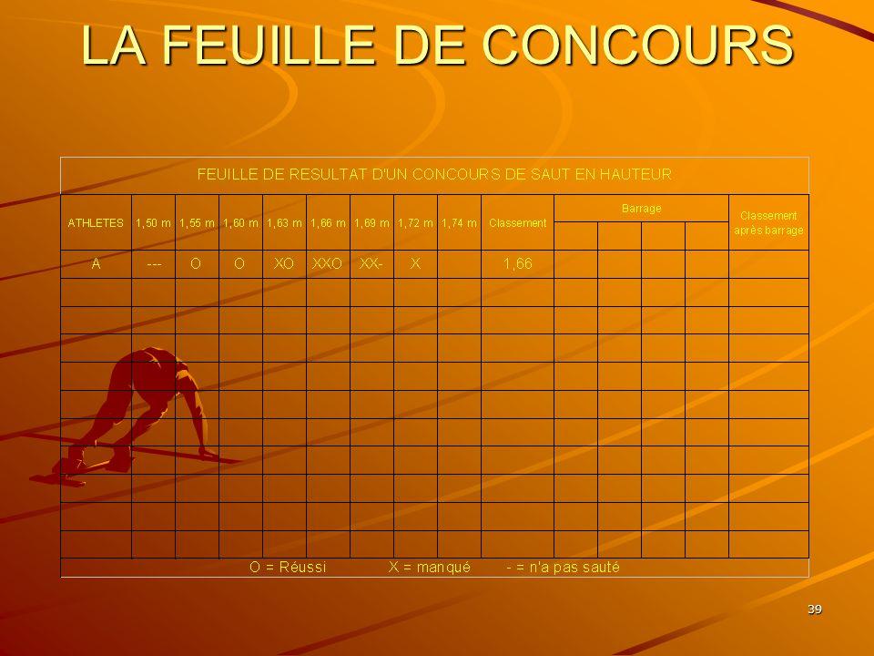 39 LA FEUILLE DE CONCOURS