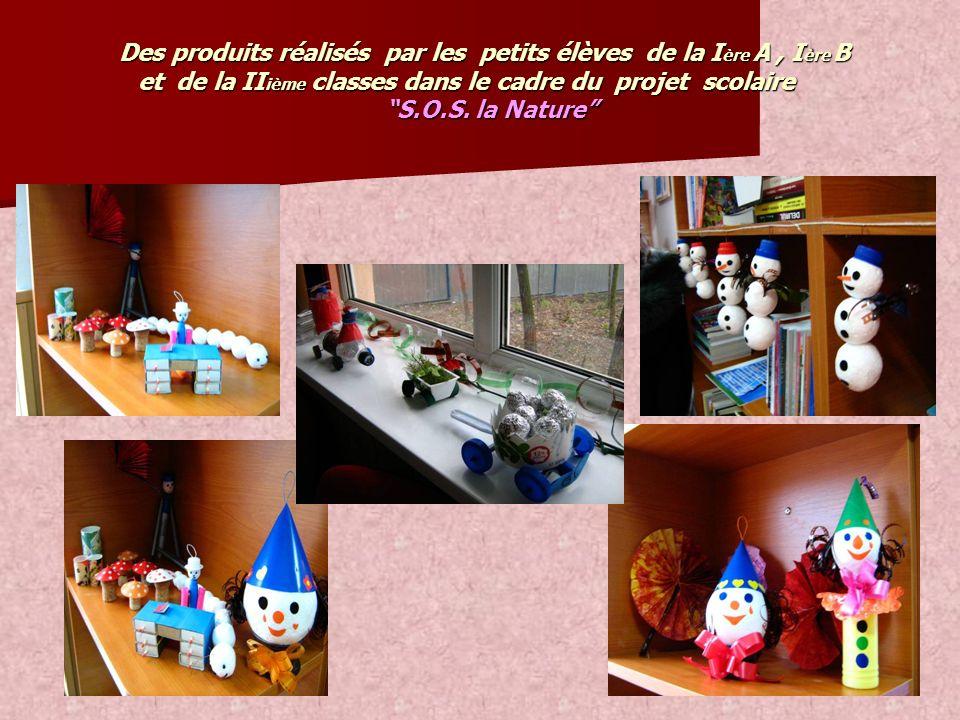 Des produits réalisés par les petits élèves de la I ère A, I ère B et de la II ième classes dans le cadre du projet scolaire Des produits réalisés par
