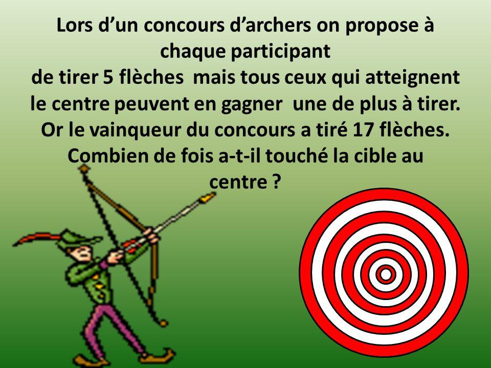 Lors dun concours darchers on propose à chaque participant de tirer 5 flèches mais tous ceux qui atteignent le centre peuvent en gagner une de plus à tirer.