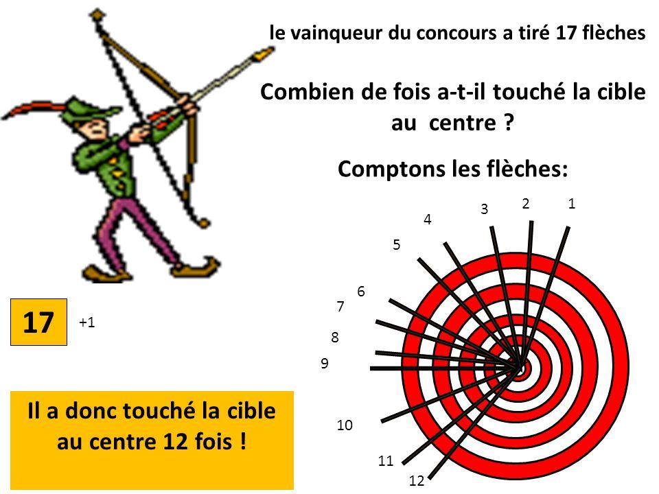 5 +1 67891011121314151617 le vainqueur du concours a tiré 17 flèches Combien de fois a-t-il touché la cible au centre .