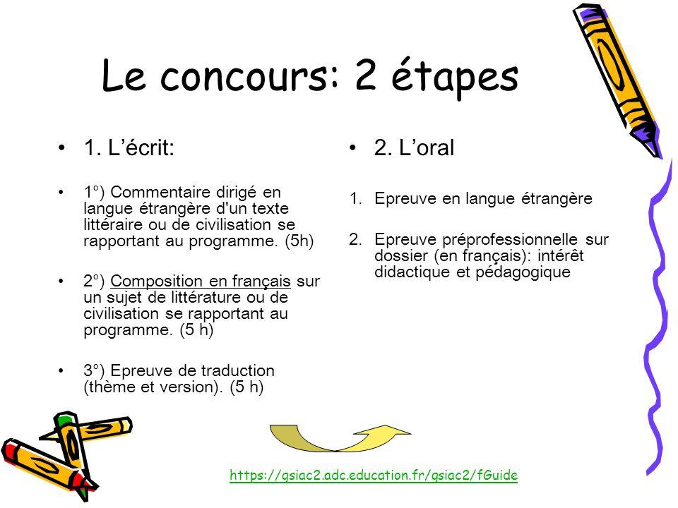 Le concours: 2 étapes 1. Lécrit: 1°) Commentaire dirigé en langue étrangère d'un texte littéraire ou de civilisation se rapportant au programme. (5h)