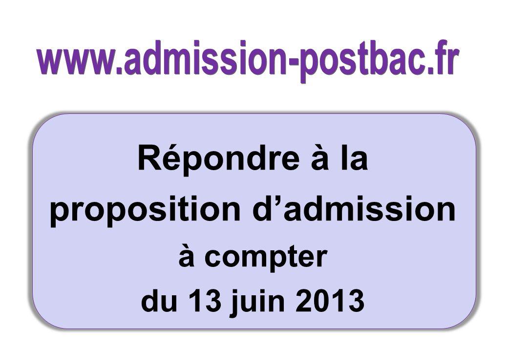 Répondre à la proposition dadmission à compter du 13 juin 2013