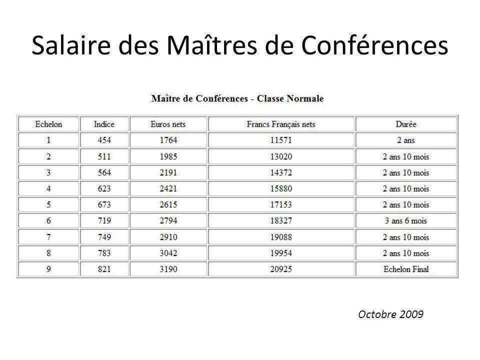 Salaire des Maîtres de Conférences Octobre 2009
