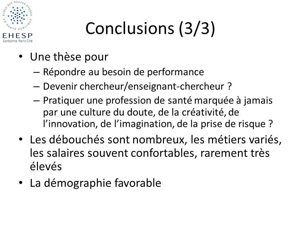 Conclusions (3/3) Une thèse pour – Répondre au besoin de performance – Devenir chercheur/enseignant-chercheur ? – Pratiquer une profession de santé ma