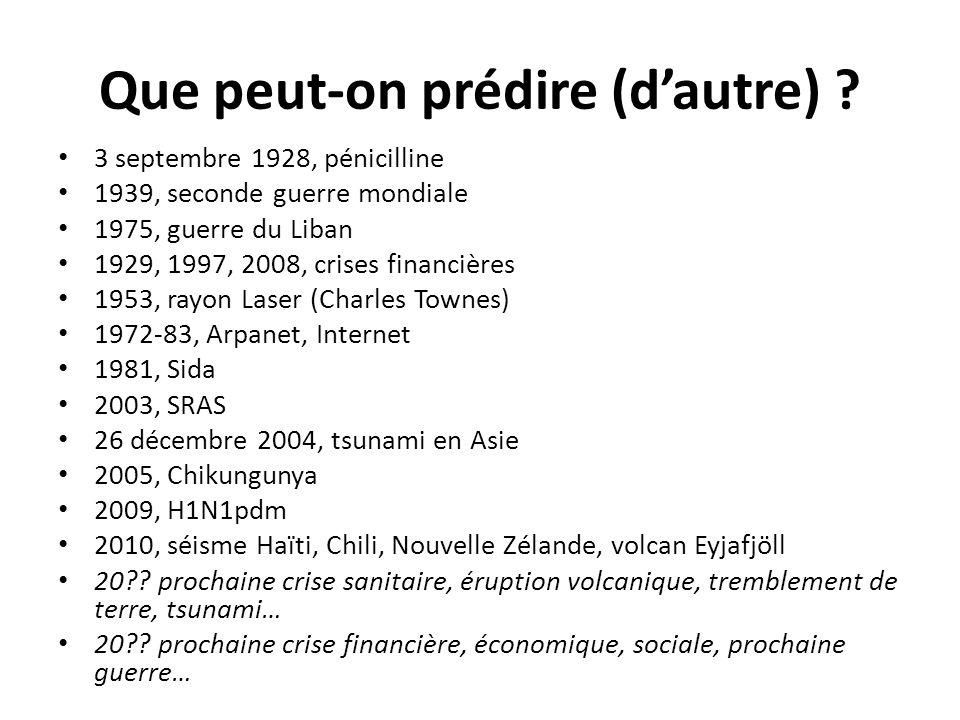 Que peut-on prédire (dautre) ? 3 septembre 1928, pénicilline 1939, seconde guerre mondiale 1975, guerre du Liban 1929, 1997, 2008, crises financières