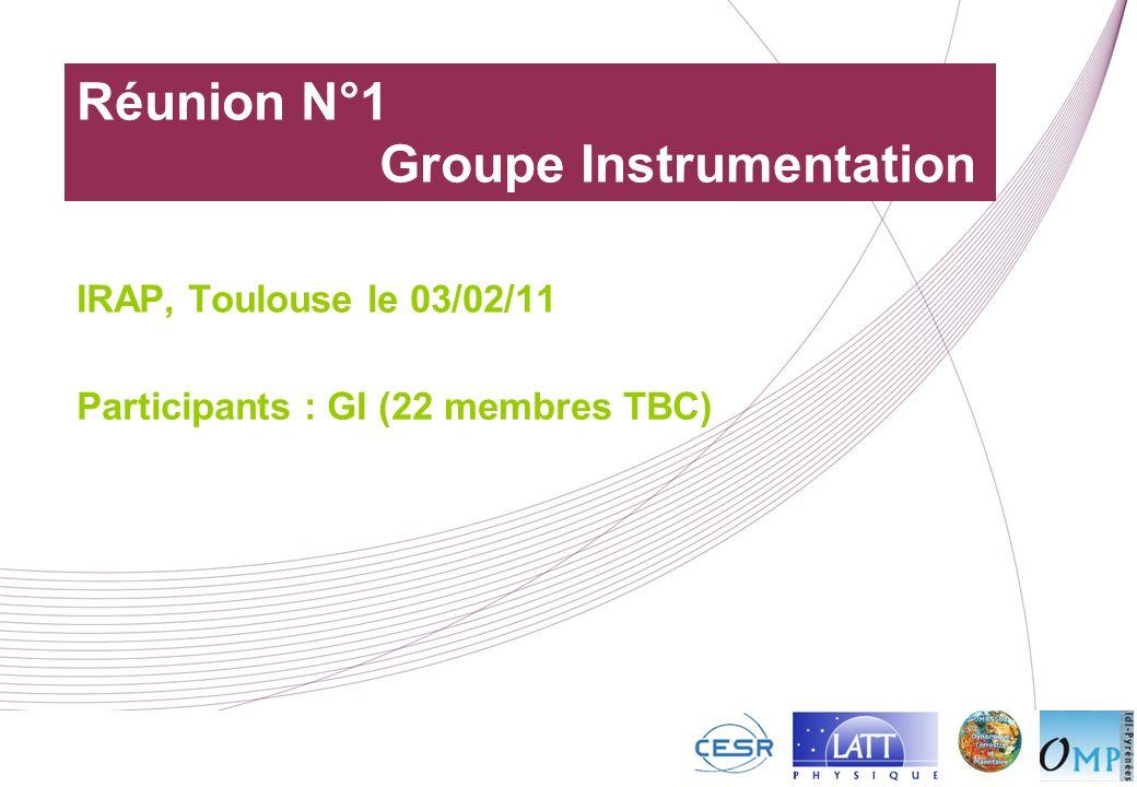 Réunion N°1 Groupe Instrumentation IRAP, Toulouse le 03/02/11 Participants : GI (22 membres TBC)