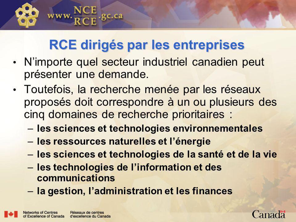 RCE dirigés par les entreprises Nimporte quel secteur industriel canadien peut présenter une demande.