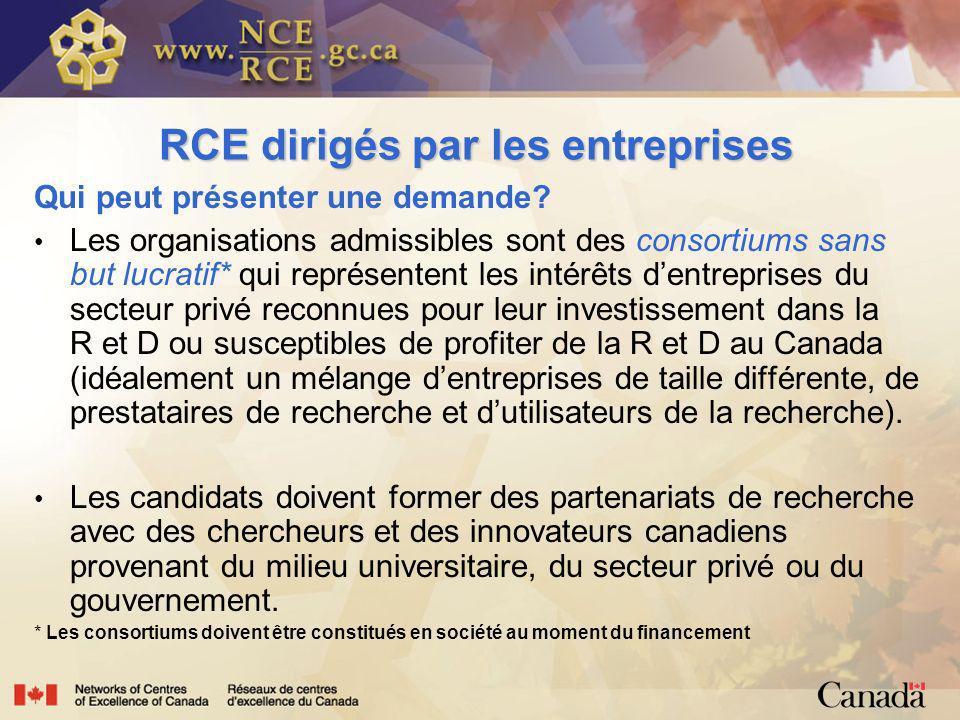 RCE dirigés par les entreprises Qui peut présenter une demande.