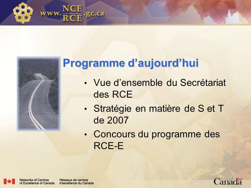 Programme daujourdhui Programme daujourdhui Vue densemble du Secrétariat des RCE Stratégie en matière de S et T de 2007 Concours du programme des RCE-E