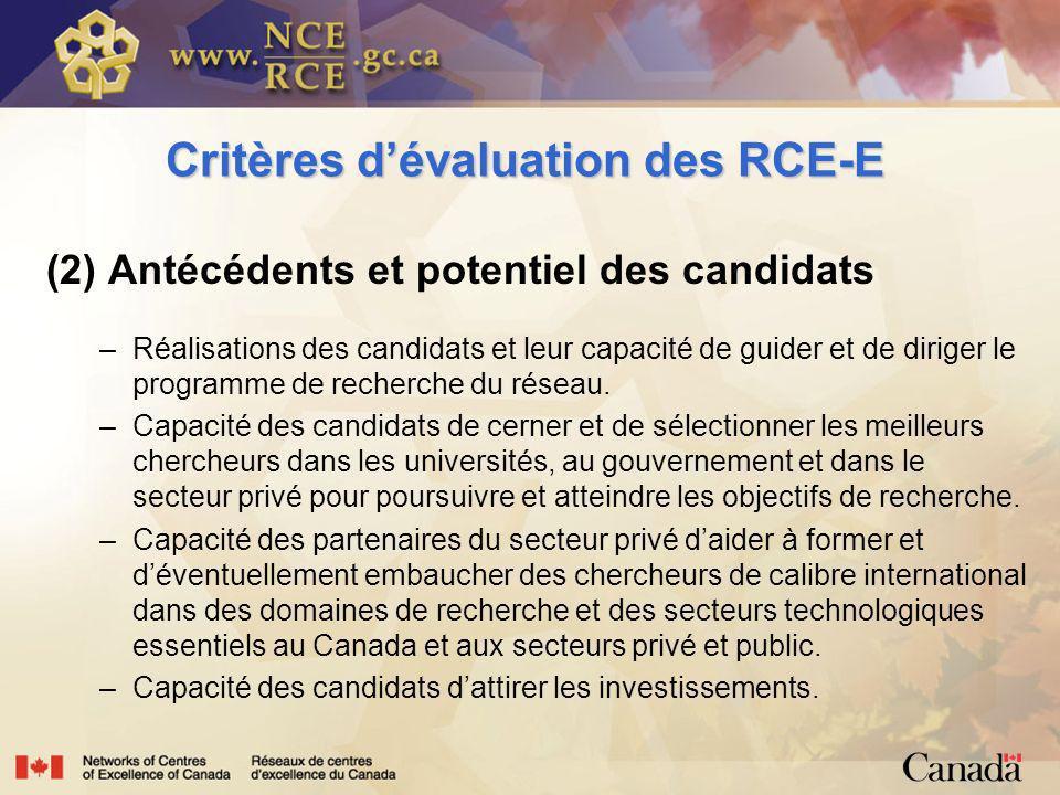 Critères dévaluation des RCE-E (2) Antécédents et potentiel des candidats –Réalisations des candidats et leur capacité de guider et de diriger le programme de recherche du réseau.