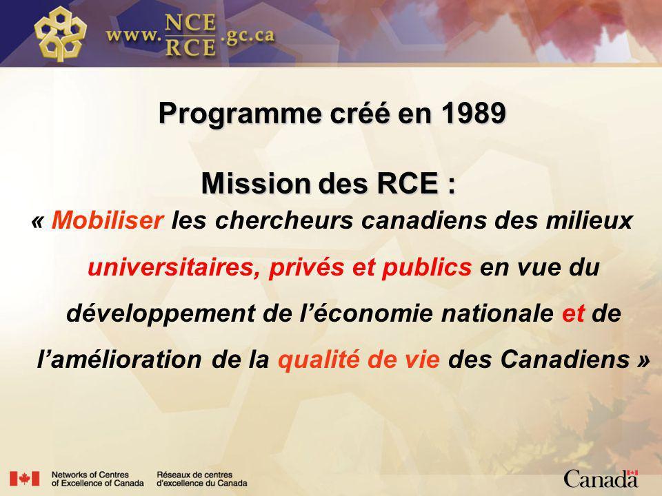 Programme créé en 1989 Mission des RCE : Programme créé en 1989 Mission des RCE : « Mobiliser les chercheurs canadiens des milieux universitaires, privés et publics en vue du développement de léconomie nationale et de lamélioration de la qualité de vie des Canadiens »