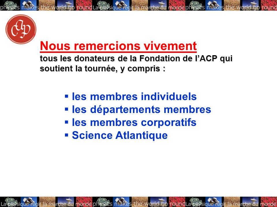 les membres individuels les départements membres les membres corporatifs Science Atlantique Nous remercions vivement tous les donateurs de la Fondation de lACP qui soutient la tournée, y compris :