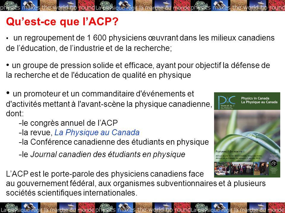 Quest-ce que lACP? un regroupement de 1 600 physiciens œuvrant dans les milieux canadiens de léducation, de lindustrie et de la recherche; un groupe d