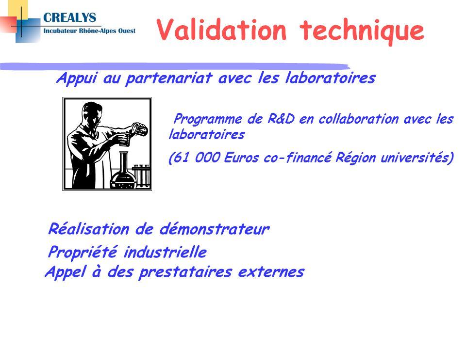 Appui au partenariat avec les laboratoires Réalisation de démonstrateur Propriété industrielle Appel à des prestataires externes Programme de R&D en c