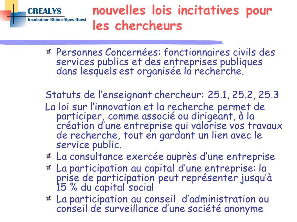nouvelles lois incitatives pour les chercheurs Personnes Concernées: fonctionnaires civils des services publics et des entreprises publiques dans lesq