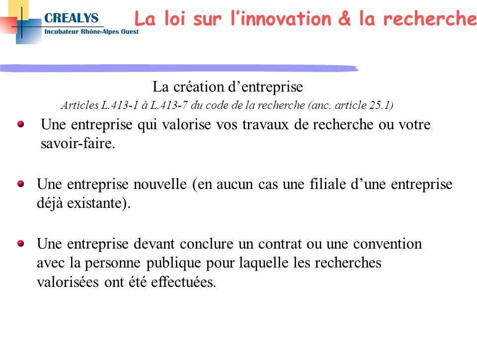 La création dentreprise Articles L.413-1 à L.413-7 du code de la recherche (anc. article 25.1) Une entreprise qui valorise vos travaux de recherche ou