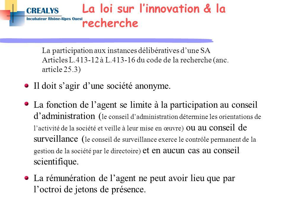 La participation aux instances délibératives dune SA Articles L.413-12 à L.413-16 du code de la recherche (anc. article 25.3) Il doit sagir dune socié