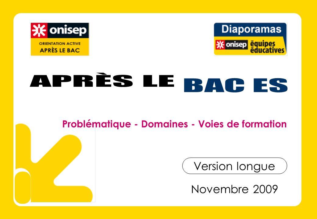Novembre 2009 Version longue Problématique - Domaines - Voies de formation