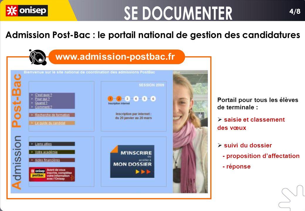 Portail pour tous les élèves de terminale : saisie et classement des vœux suivi du dossier - proposition daffectation - réponse Admission Post-Bac : l