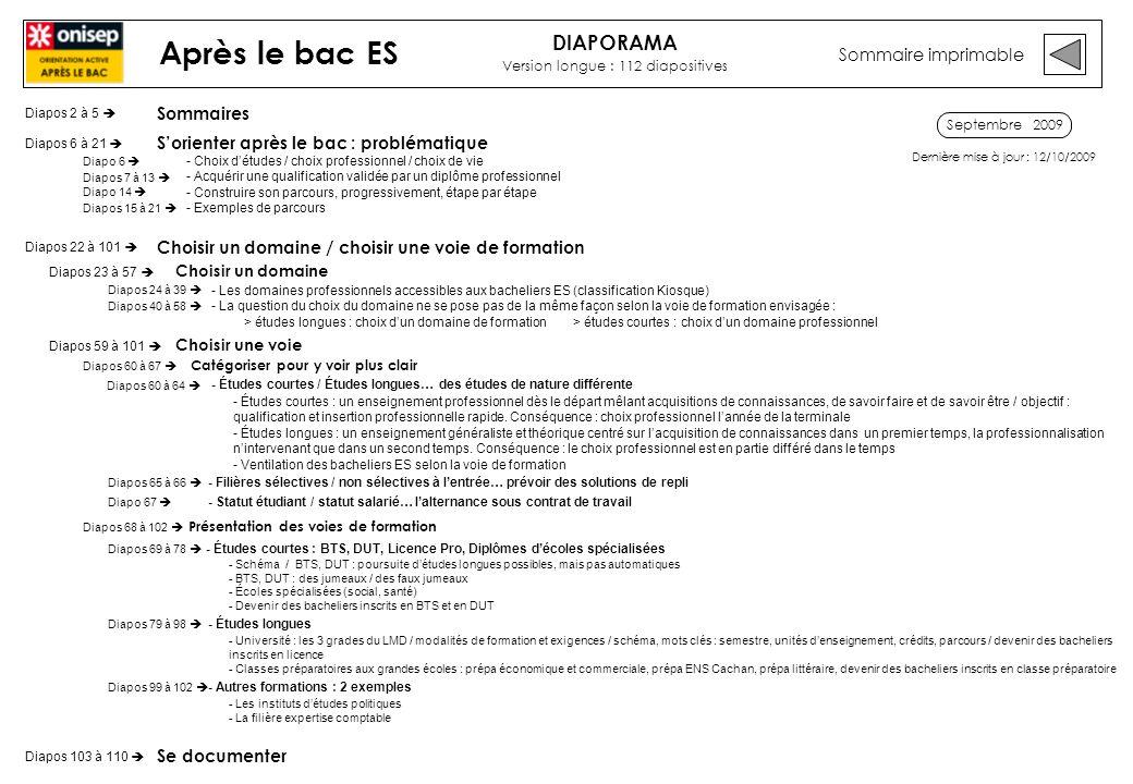 Septembre 2009 Sommaire imprimable Après le bac ES Sommaires Sorienter après le bac : problématique - Choix détudes / choix professionnel / choix de v