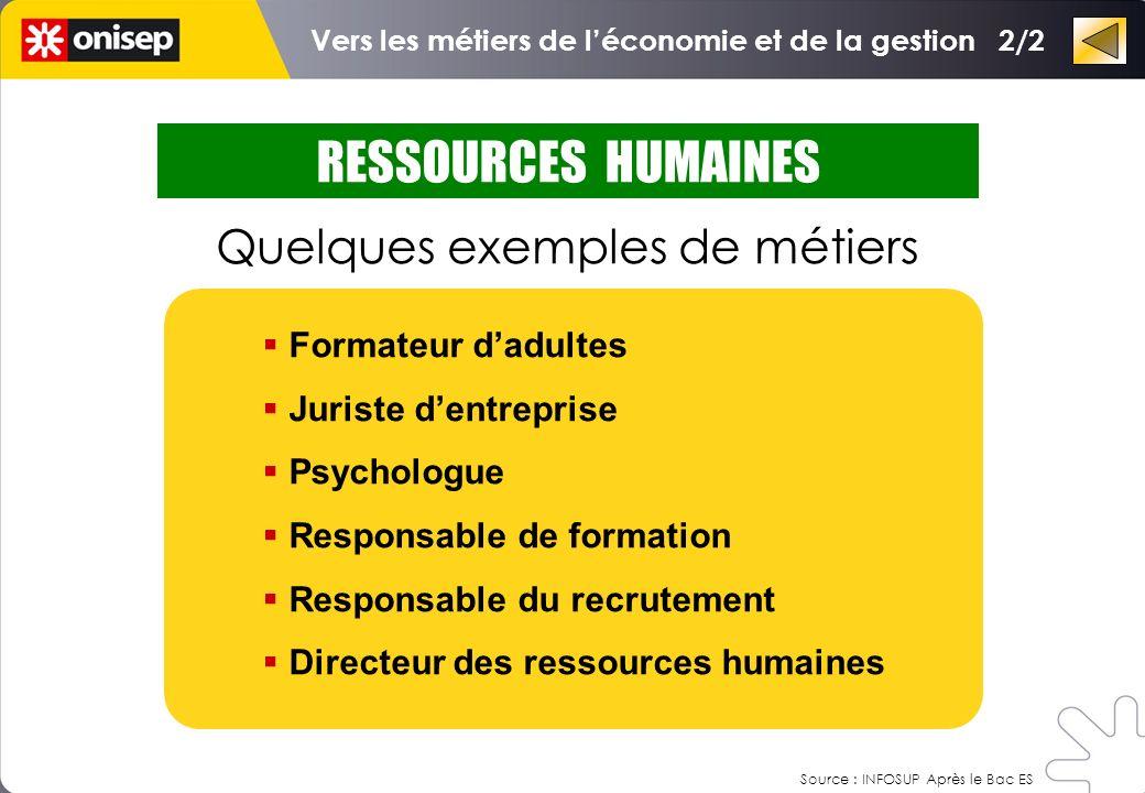 RESSOURCES HUMAINES Quelques exemples de métiers Formateur dadultes Juriste dentreprise Psychologue Responsable de formation Responsable du recrutemen