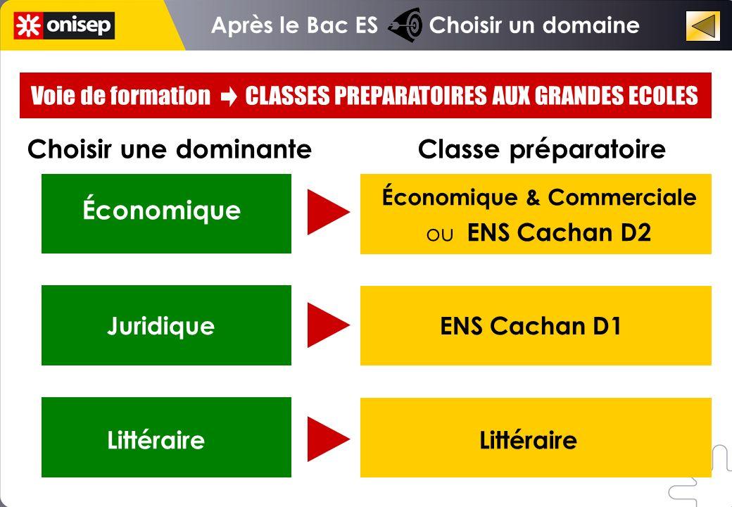 Après le Bac ES Choisir un domaine Économique Choisir une dominante Classe préparatoire Économique & Commerciale ou ENS Cachan D2 Littéraire Juridique