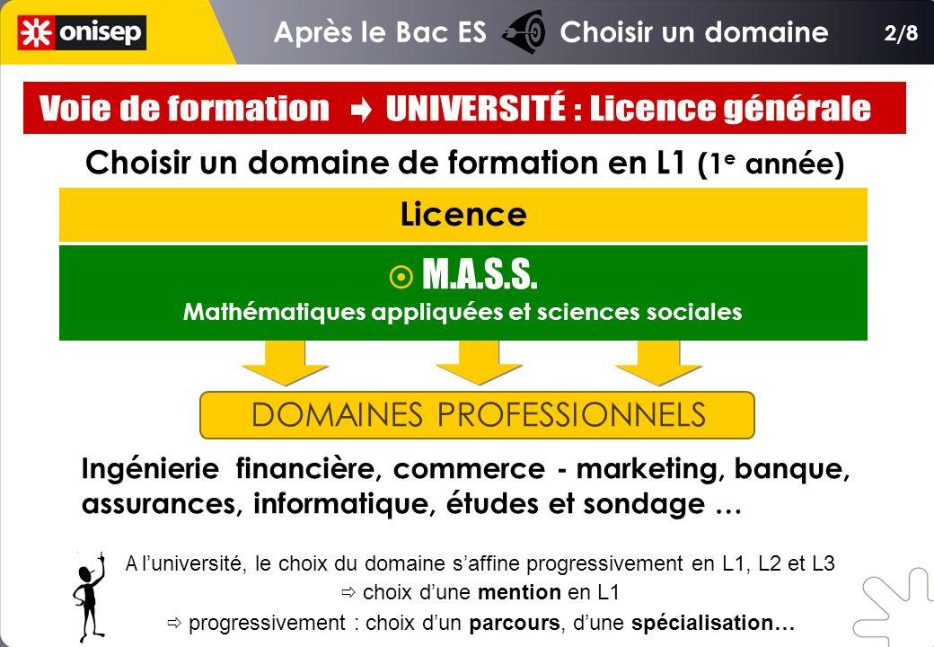 Choisir un domaine de formation en L1 (1 e année) Licence DOMAINES PROFESSIONNELS Ingénierie financière, commerce - marketing, banque, assurances, inf