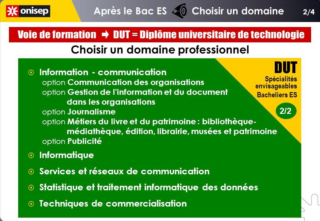 Choisir un domaine professionnel Information - communication option Communication des organisations option Gestion de l'information et du document dan