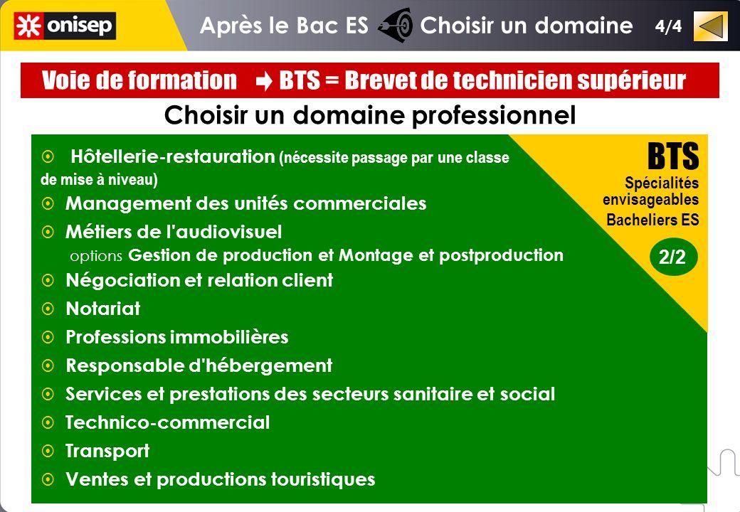Après le Bac ES Choisir un domaine Choisir un domaine professionnel 2/2 BTS Spécialités envisageables Bacheliers ES Hôtellerie-restauration (nécessite