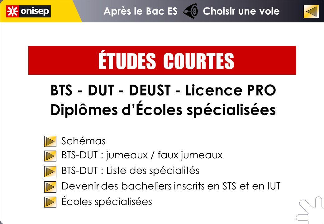 BTS - DUT - DEUST - Licence PRO Diplômes dÉcoles spécialisées Schémas BTS-DUT : jumeaux / faux jumeaux BTS-DUT : Liste des spécialités Devenir des bac