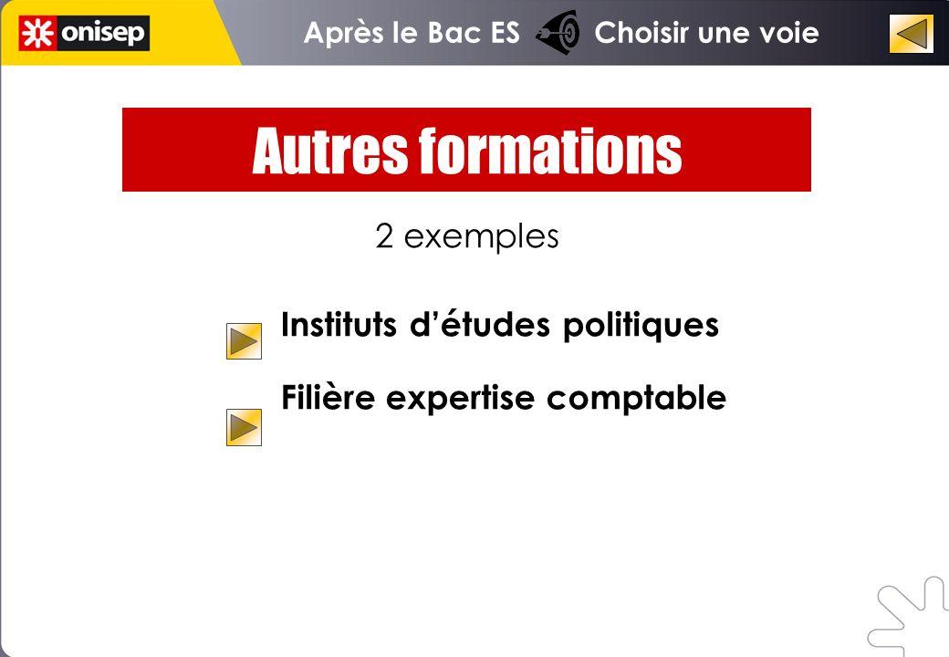 Instituts détudes politiques Filière expertise comptable Autres formations 2 exemples Après le Bac ES Choisir une voie